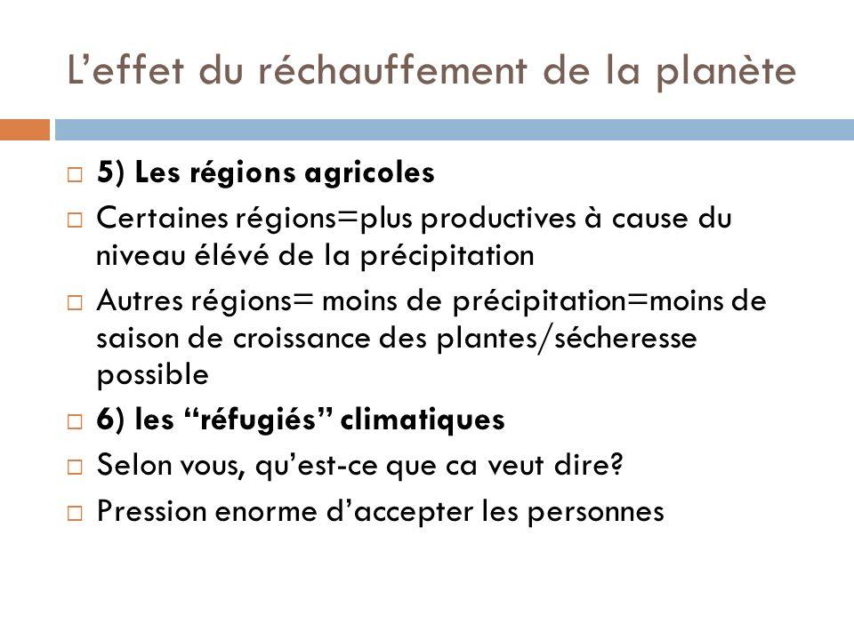 Leffet du réchauffement de la planète 5) Les régions agricoles Certaines régions=plus productives à cause du niveau élévé de la précipitation Autres régions= moins de précipitation=moins de saison de croissance des plantes/sécheresse possible 6) les réfugiés climatiques Selon vous, quest-ce que ca veut dire.