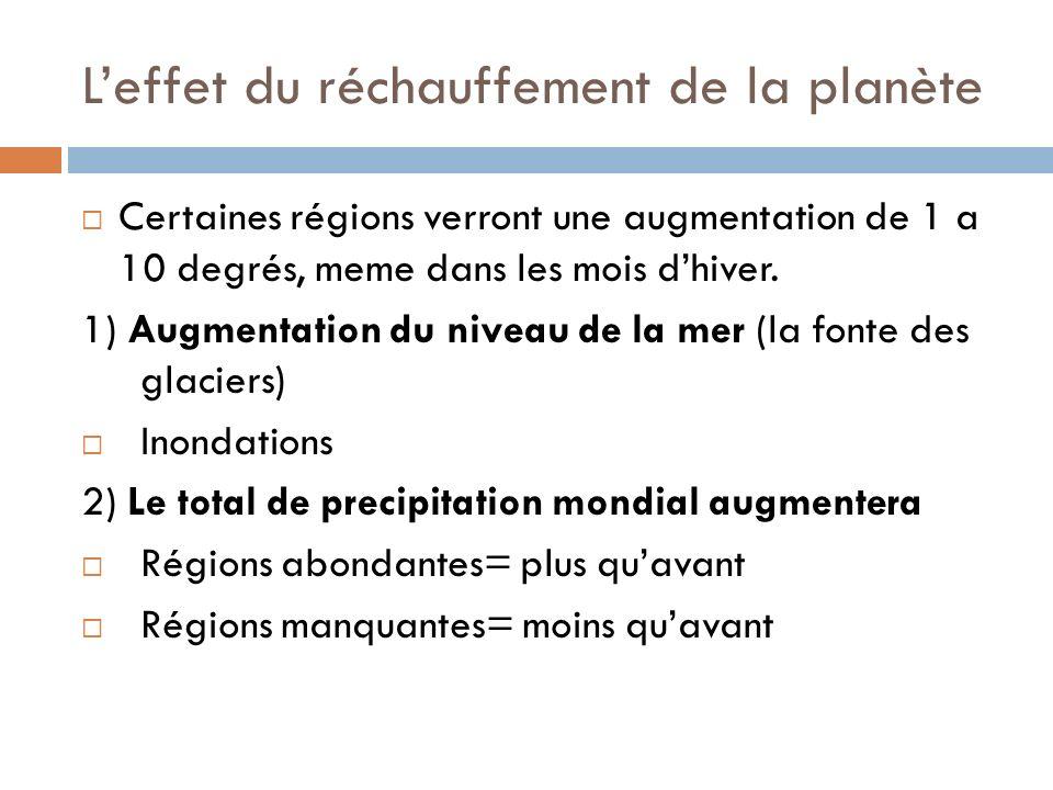Leffet du réchauffement de la planète Certaines régions verront une augmentation de 1 a 10 degrés, meme dans les mois dhiver. 1) Augmentation du nivea