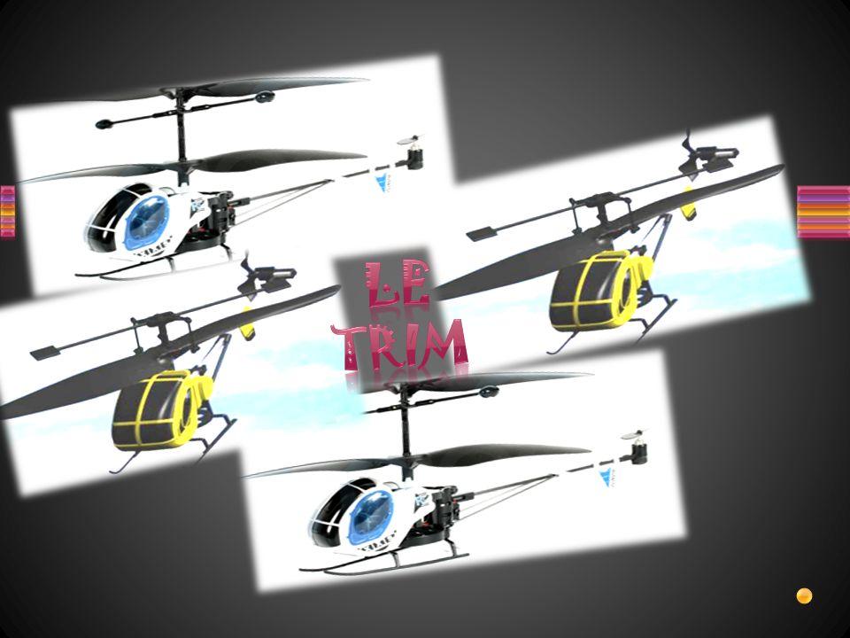 A quoi sert le Trim sur lhélicoptère miniature hugues 269, sur quels facteurs agit-il pour obtenir le réglage et quels sont les 2 types de commandes utilisées sur la télécommande.