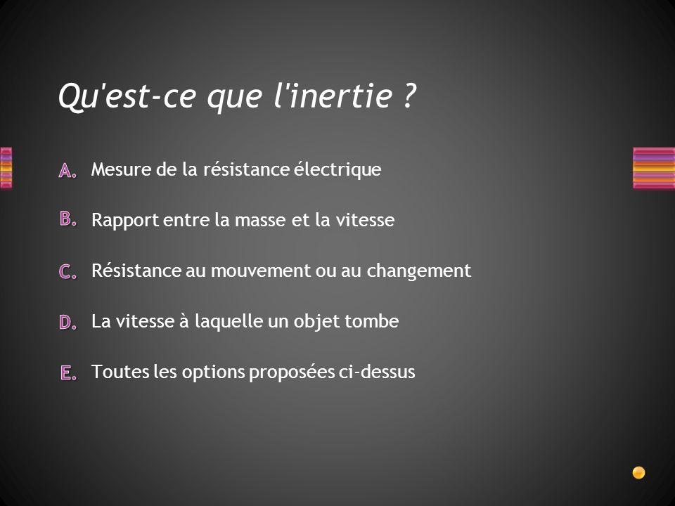 Qu'est-ce que l'inertie ? Toutes les options proposées ci-dessus La vitesse à laquelle un objet tombe Mesure de la résistance électrique Rapport entre
