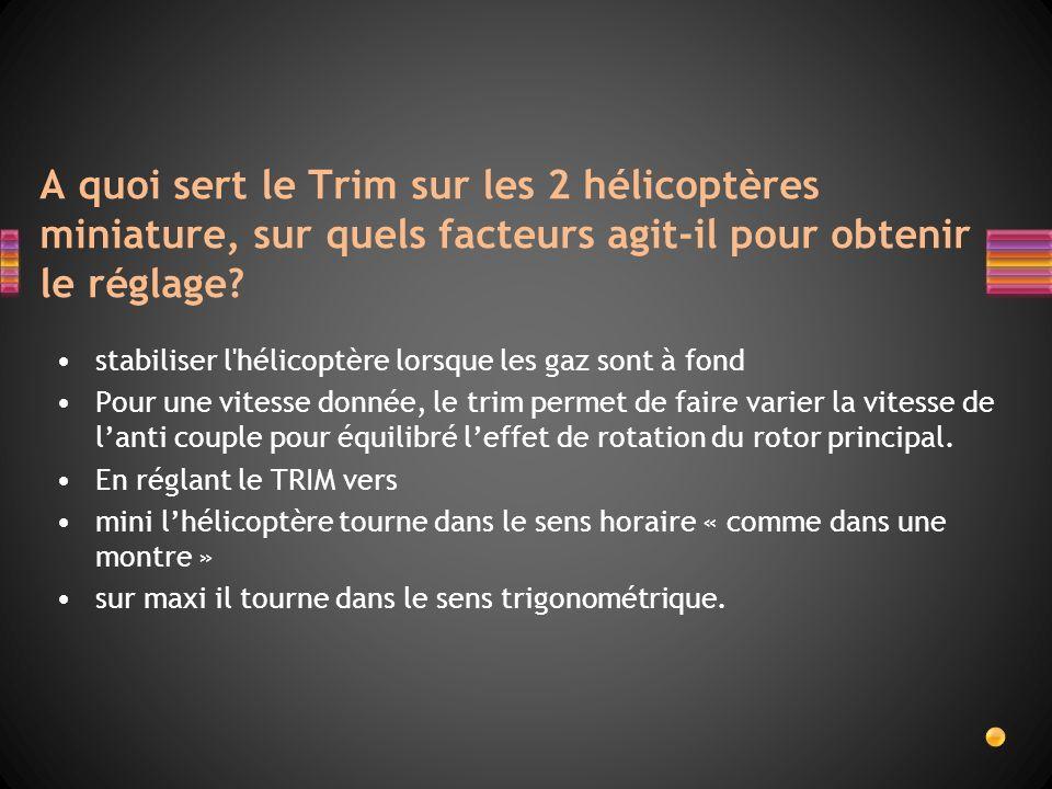 A quoi sert le Trim sur les 2 hélicoptères miniature, sur quels facteurs agit-il pour obtenir le réglage? stabiliser l'hélicoptère lorsque les gaz son