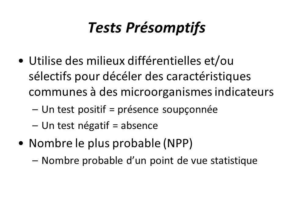 Tests Présomptifs Utilise des milieux différentielles et/ou sélectifs pour décéler des caractéristiques communes à des microorganismes indicateurs –Un