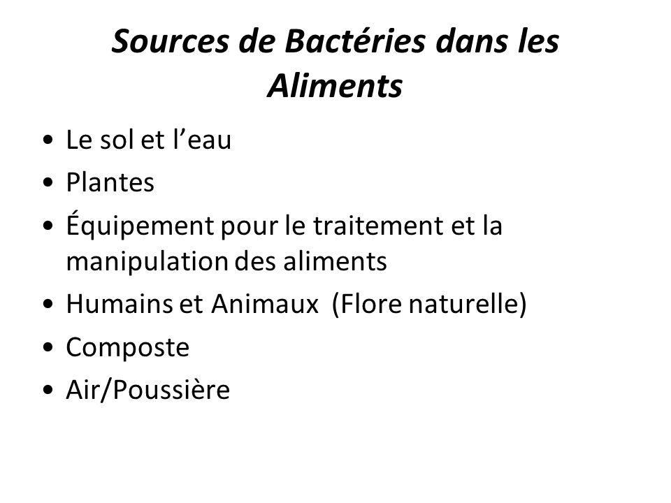Sources de Bactéries dans les Aliments Le sol et leau Plantes Équipement pour le traitement et la manipulation des aliments Humains et Animaux (Flore