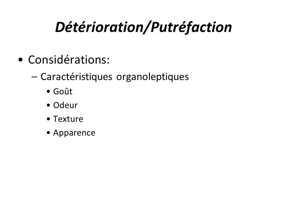 Détérioration/Putréfaction Considérations: –Caractéristiques organoleptiques Goût Odeur Texture Apparence