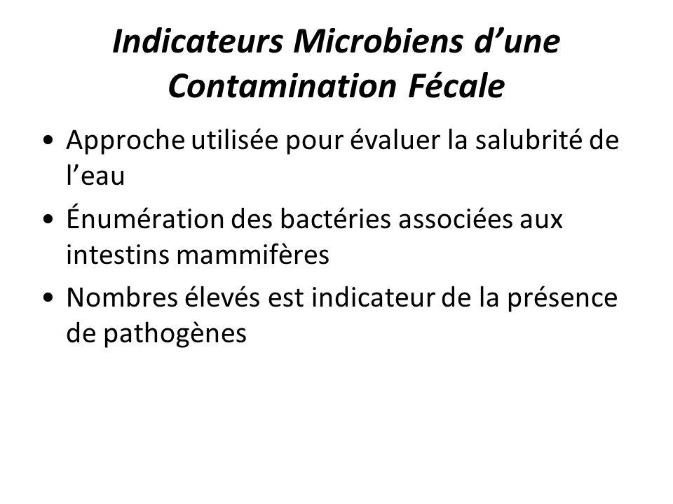Indicateurs Microbiens dune Contamination Fécale Approche utilisée pour évaluer la salubrité de leau Énumération des bactéries associées aux intestins