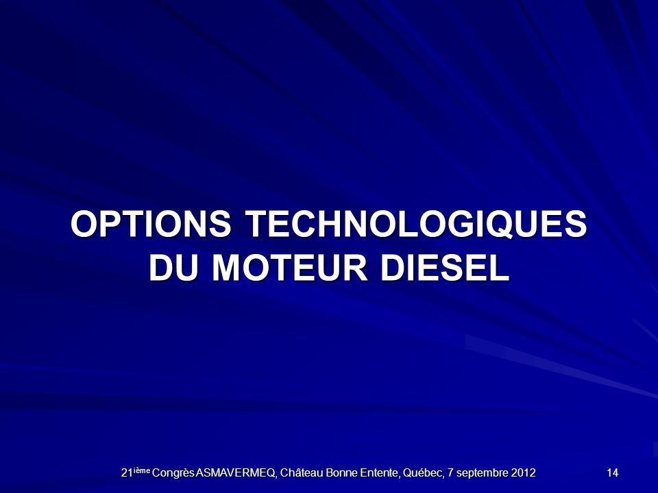 OPTIONS TECHNOLOGIQUES DU MOTEUR DIESEL 14 21 ième Congrès ASMAVERMEQ, Château Bonne Entente, Québec, 7 septembre 2012