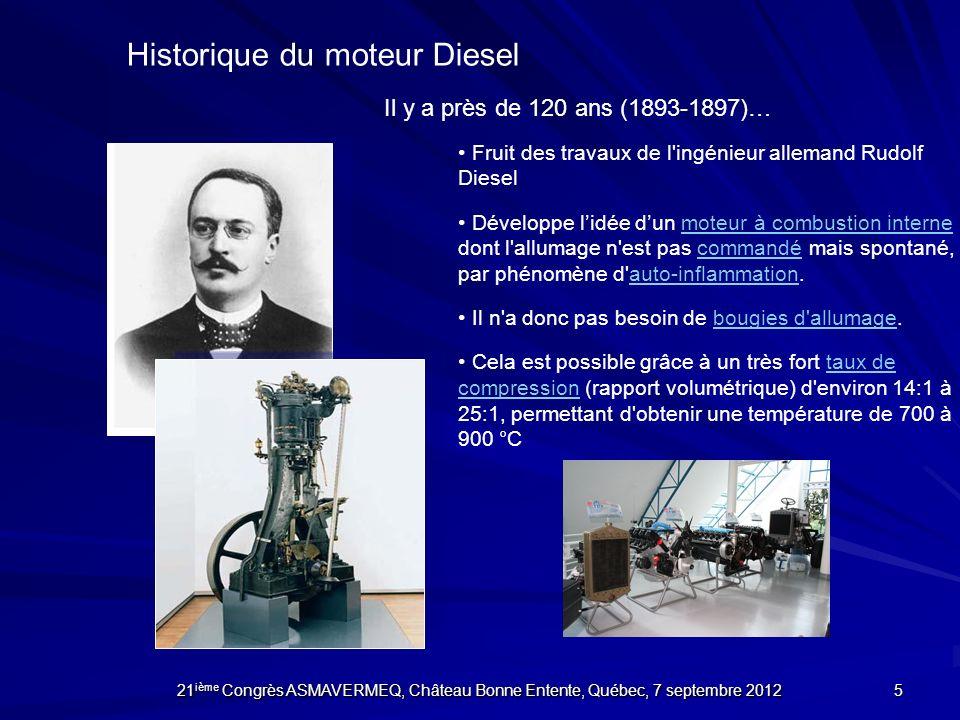 Historique du moteur Diesel Fruit des travaux de l'ingénieur allemand Rudolf Diesel Développe lidée dun moteur à combustion interne dont l'allumage n'