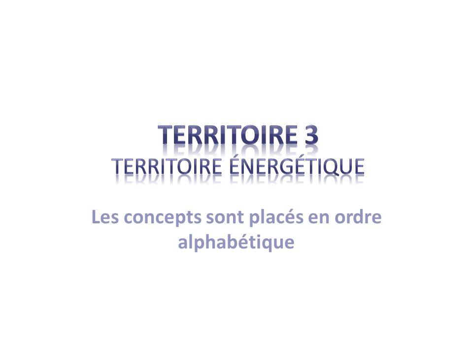 Liste des concepts C= Chrono / JB= journal de bord MOTS (JB= journal de bord « Territoire énergétique », P= cahier Parallèles) Biocarburant / éthanol (JB=36-37) Effet de serre (JB=14-15) Pétrole / gaz naturel / charbon / uranium (JB= 12-13) Combustible fossile (P=210) Énergie hydraulique / énergie solaire / énergie éolienne / biomasse (P=210 à 212) Réchauffement / changement climatique (JB= 14-15) Dépendance énergétique (JB=3) Hydrocarbures (JB=5) Sources dénergie (P=210) (JB=5) Développement durable et ses trois pôles (JB=18) Indépendance ou autonomie énergétique (JB=3) Sources dénergie renouvelable / non renouvelables.