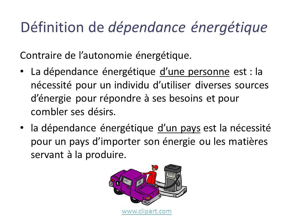 Contraire de lautonomie énergétique. La dépendance énergétique dune personne est : la nécessité pour un individu dutiliser diverses sources dénergie p