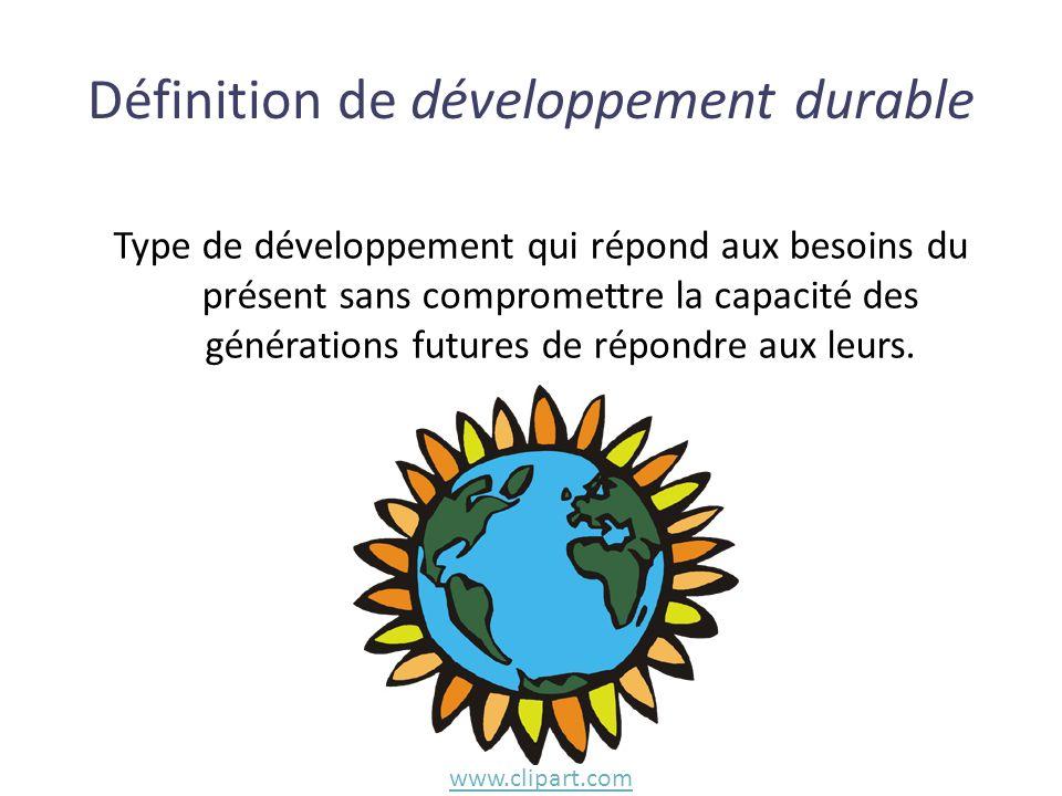 Type de développement qui répond aux besoins du présent sans compromettre la capacité des générations futures de répondre aux leurs. Définition de dév