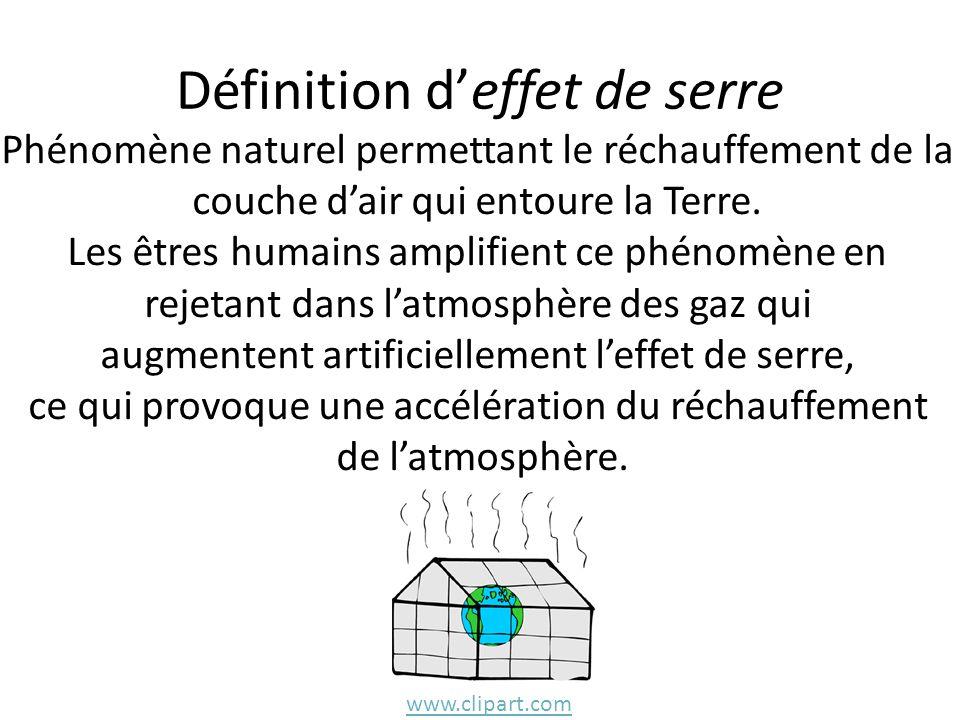 Définition deffet de serre Phénomène naturel permettant le réchauffement de la couche dair qui entoure la Terre. Les êtres humains amplifient ce phéno