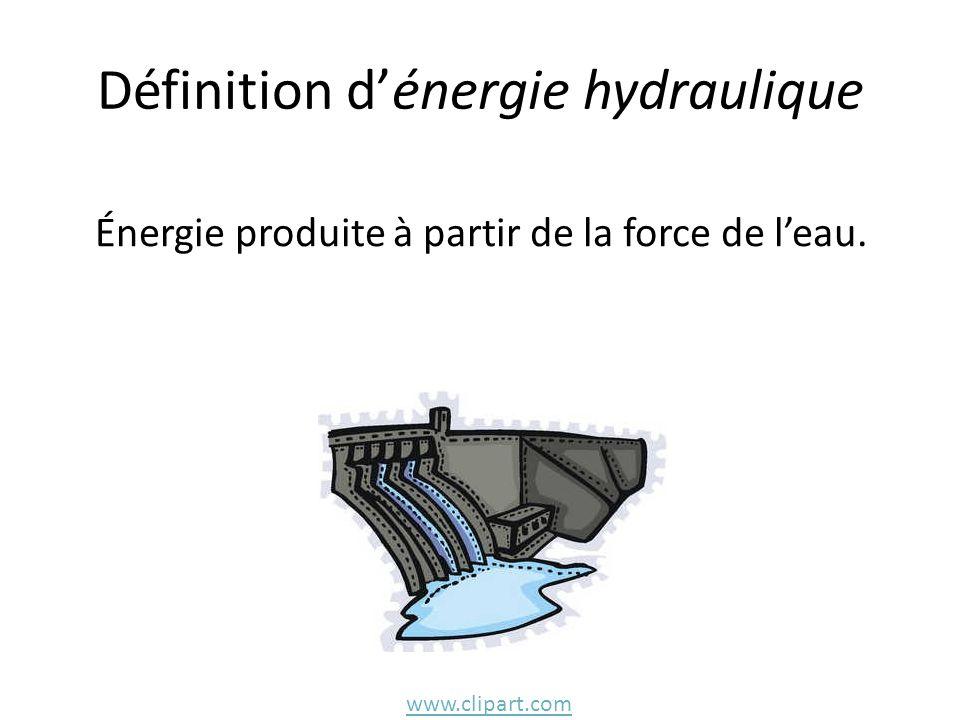 Définition dénergie hydraulique Énergie produite à partir de la force de leau. www.clipart.com