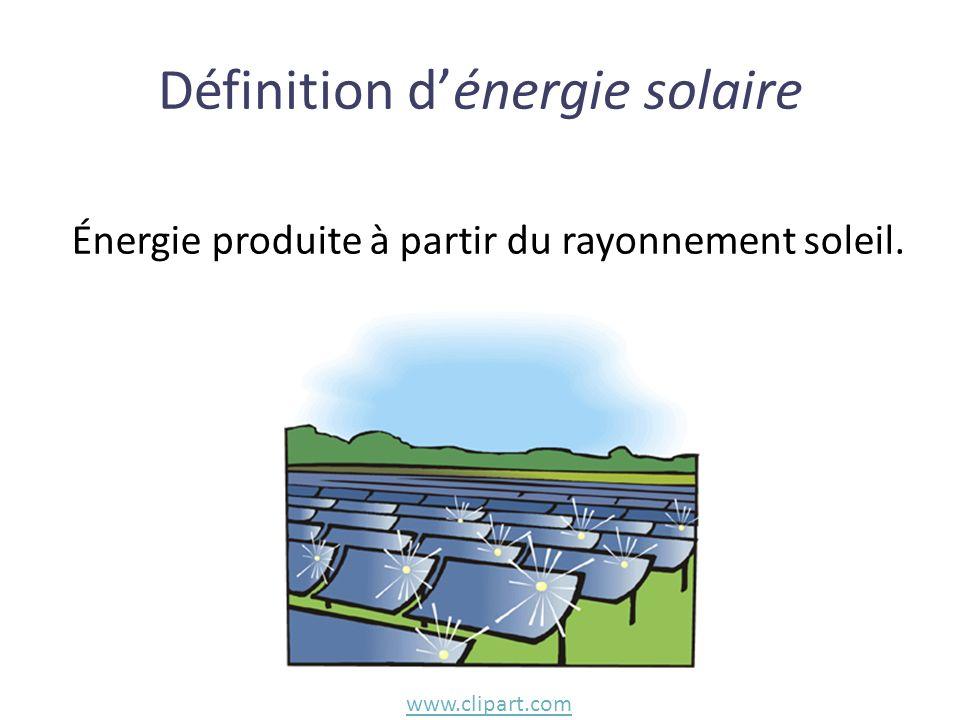 Énergie produite à partir du rayonnement soleil. Définition dénergie solaire www.clipart.com