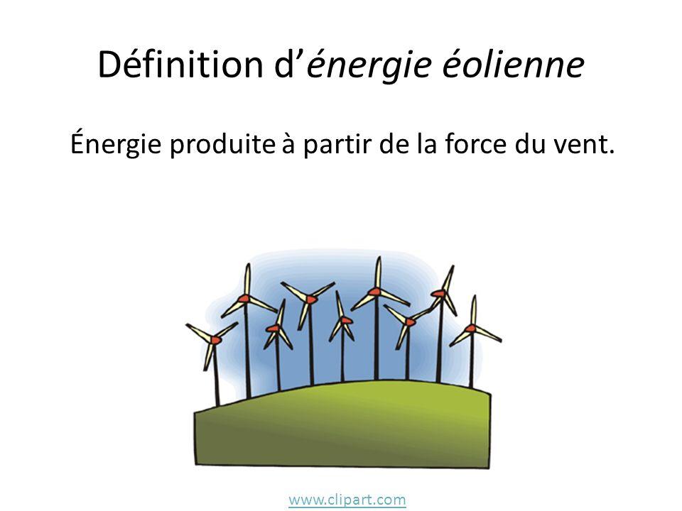 Définition dénergie éolienne Énergie produite à partir de la force du vent. www.clipart.com