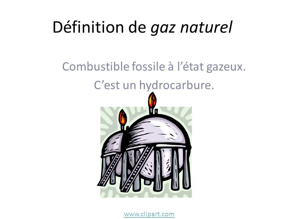 Définition de gaz naturel Combustible fossile à létat gazeux. Cest un hydrocarbure. www.clipart.com