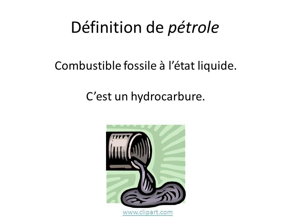 Définition de pétrole Combustible fossile à létat liquide. Cest un hydrocarbure. www.clipart.com