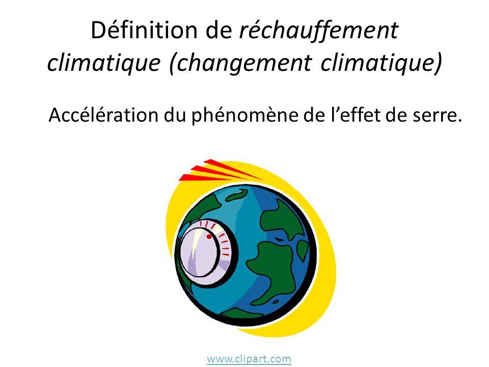 Définition de réchauffement climatique (changement climatique) Accélération du phénomène de leffet de serre. www.clipart.com