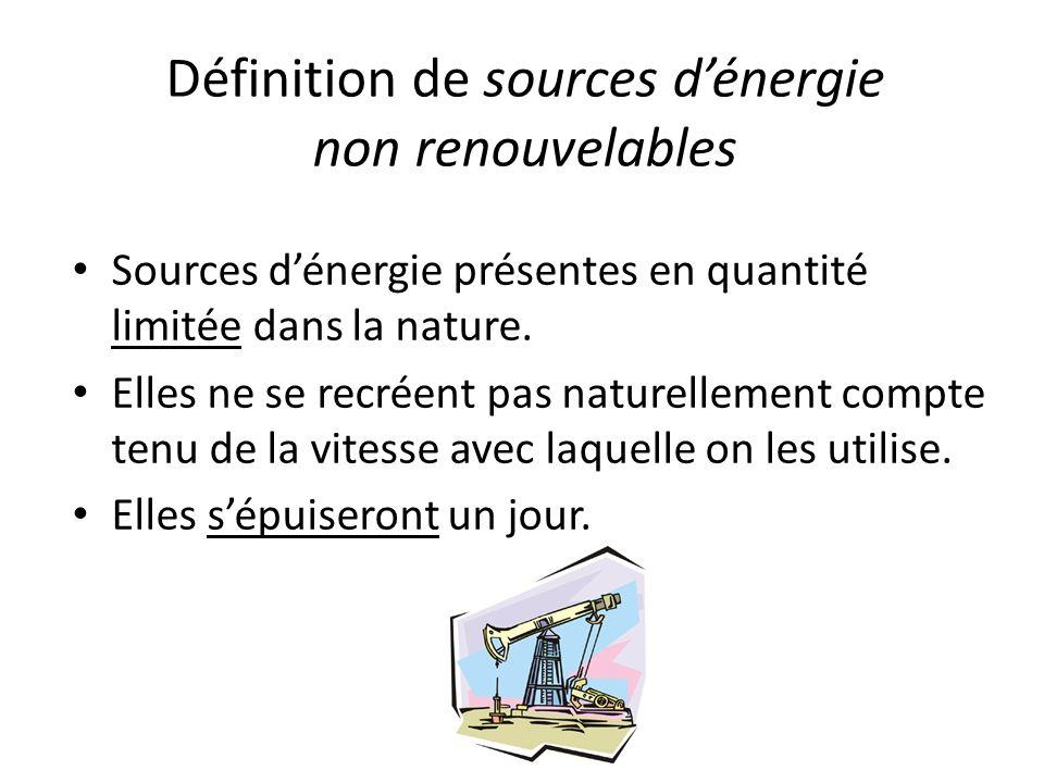 Définition de sources dénergie non renouvelables Sources dénergie présentes en quantité limitée dans la nature. Elles ne se recréent pas naturellement
