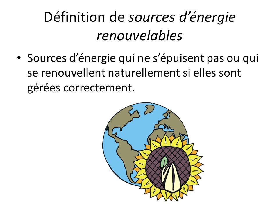 Définition de sources dénergie renouvelables Sources dénergie qui ne sépuisent pas ou qui se renouvellent naturellement si elles sont gérées correctem