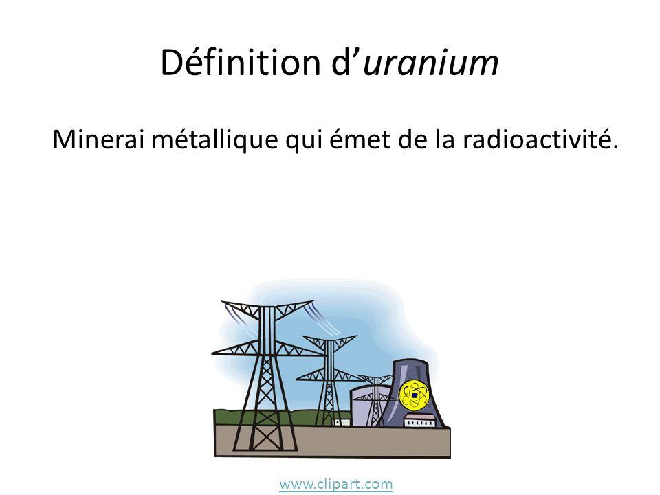 Définition duranium Minerai métallique qui émet de la radioactivité. www.clipart.com