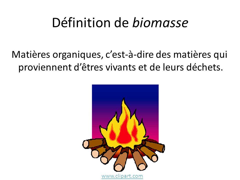 Définition de biomasse Matières organiques, cest-à-dire des matières qui proviennent dêtres vivants et de leurs déchets. www.clipart.com