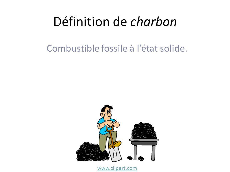 Définition de charbon Combustible fossile à létat solide. www.clipart.com