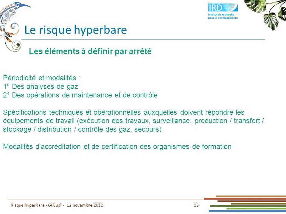 Le risque hyperbare 13 Risque hyperbare - GPSup - 12 novembre 2012 Les éléments à définir par arrêté Périodicité et modalités : 1° Des analyses de gaz