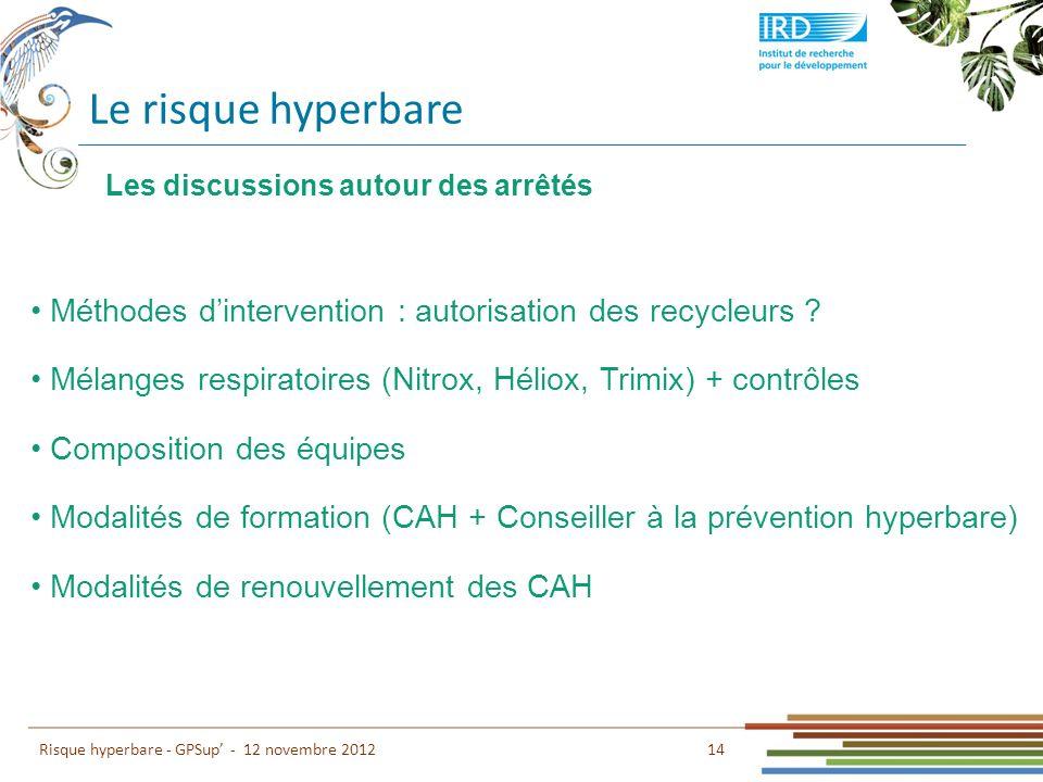Le risque hyperbare 14 Risque hyperbare - GPSup - 12 novembre 2012 Méthodes dintervention : autorisation des recycleurs ? Mélanges respiratoires (Nitr