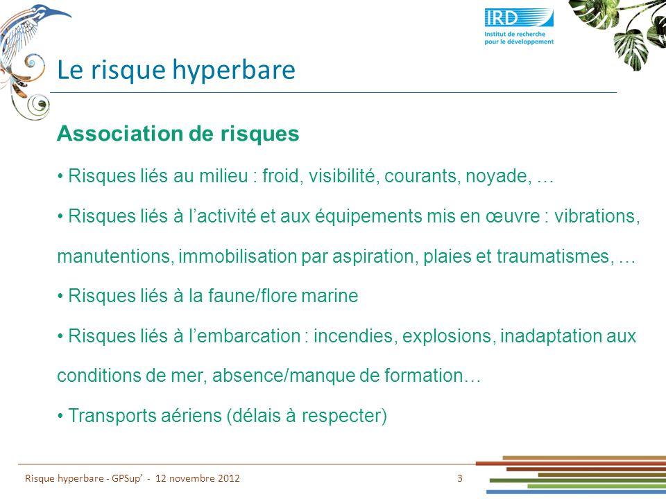 Le risque hyperbare 3 Risque hyperbare - GPSup - 12 novembre 2012 Association de risques Risques liés au milieu : froid, visibilité, courants, noyade,