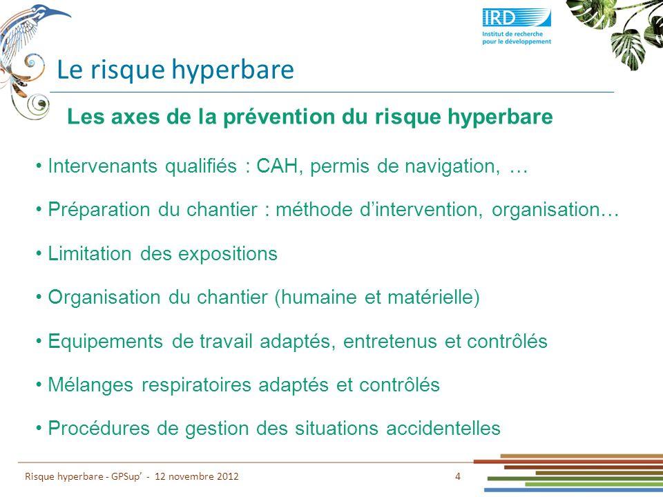 Le risque hyperbare 4 Risque hyperbare - GPSup - 12 novembre 2012 Intervenants qualifiés : CAH, permis de navigation, … Préparation du chantier : méth