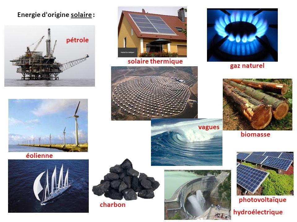 Energie d'origine solaire : pétrole gaz naturel biomasse éolienne charbon hydroélectrique photovoltaïque solaire thermique vagues