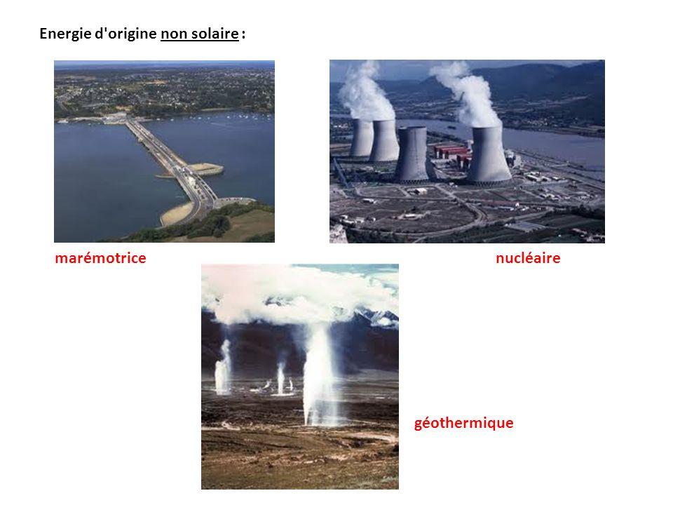 Energie d'origine non solaire : nucléaire marémotrice géothermique
