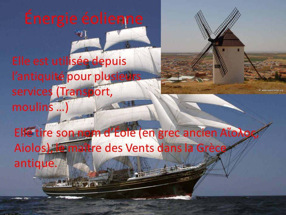 Énergie éolienne Elle est utilisée depuis lantiquité pour plusieurs services (Transport, moulins …) Elle tire son nom dÉole (en grec ancien Αολος, Aio