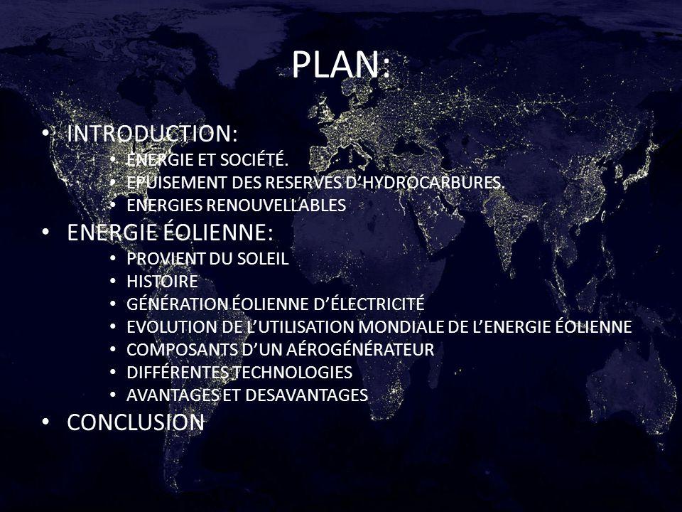 PLAN: INTRODUCTION: ENERGIE ET SOCIÉTÉ. EPUISEMENT DES RESERVES DHYDROCARBURES. ENERGIES RENOUVELLABLES ENERGIE ÉOLIENNE: PROVIENT DU SOLEIL HISTOIRE
