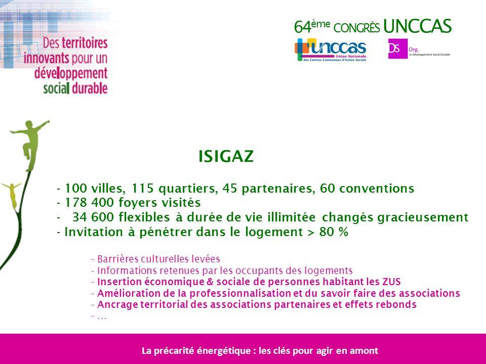 64 ème CONGRÈS UNCCAS ISIGAZ - 100 villes, 115 quartiers, 45 partenaires, 60 conventions - 178 400 foyers visités - 34 600 flexibles à durée de vie il