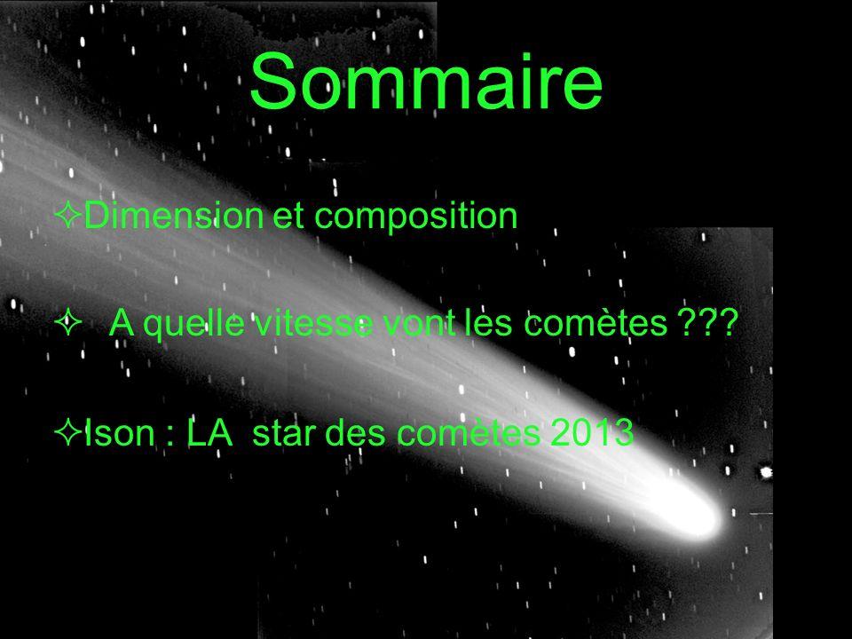 Composition et dimensions Les comètes sont composées deau, de glace, de poussière et de gaz.