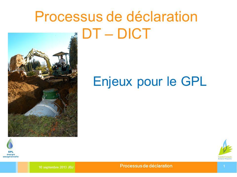 Processus de déclaration 10 septembre 2013 JBJ 1 GPL énergie exceptionnelle Processus de déclaration DT – DICT Enjeux pour le GPL