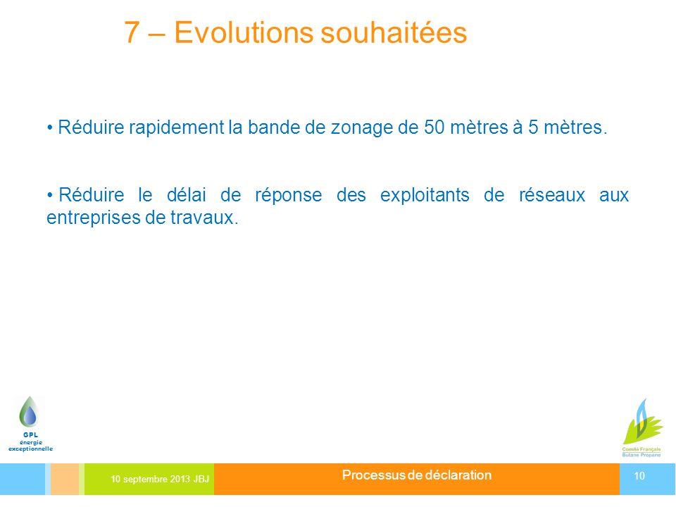 Processus de déclaration 10 septembre 2013 JBJ 10 GPL énergie exceptionnelle 7 – Evolutions souhaitées Réduire rapidement la bande de zonage de 50 mèt
