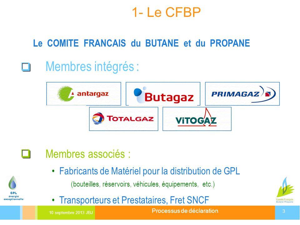 Processus de déclaration 10 septembre 2013 JBJ 3 GPL énergie exceptionnelle 1- Le CFBP Le COMITE FRANCAIS du BUTANE et du PROPANE Membres intégrés : M