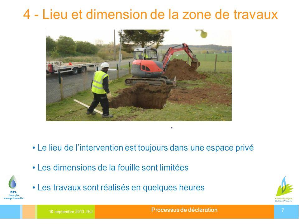 Processus de déclaration 10 septembre 2013 JBJ 7 GPL énergie exceptionnelle 4 - Lieu et dimension de la zone de travaux Depuis 55 ans, le gaz « des ca