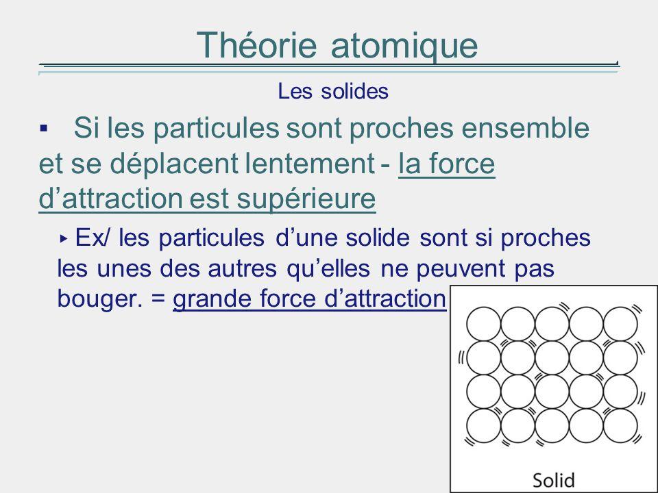 Théorie atomique Les solides Si les particules sont proches ensemble et se déplacent lentement - la force dattraction est supérieure Ex/ les particule