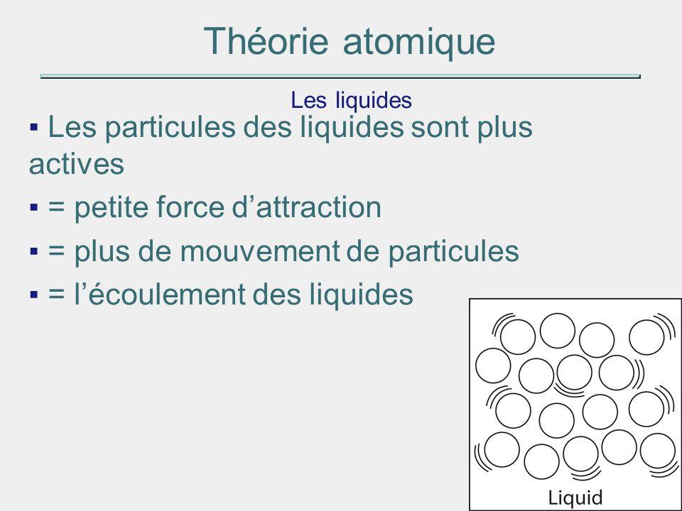 Théorie atomique Les liquides Les particules des liquides sont plus actives = petite force dattraction = plus de mouvement de particules = lécoulement