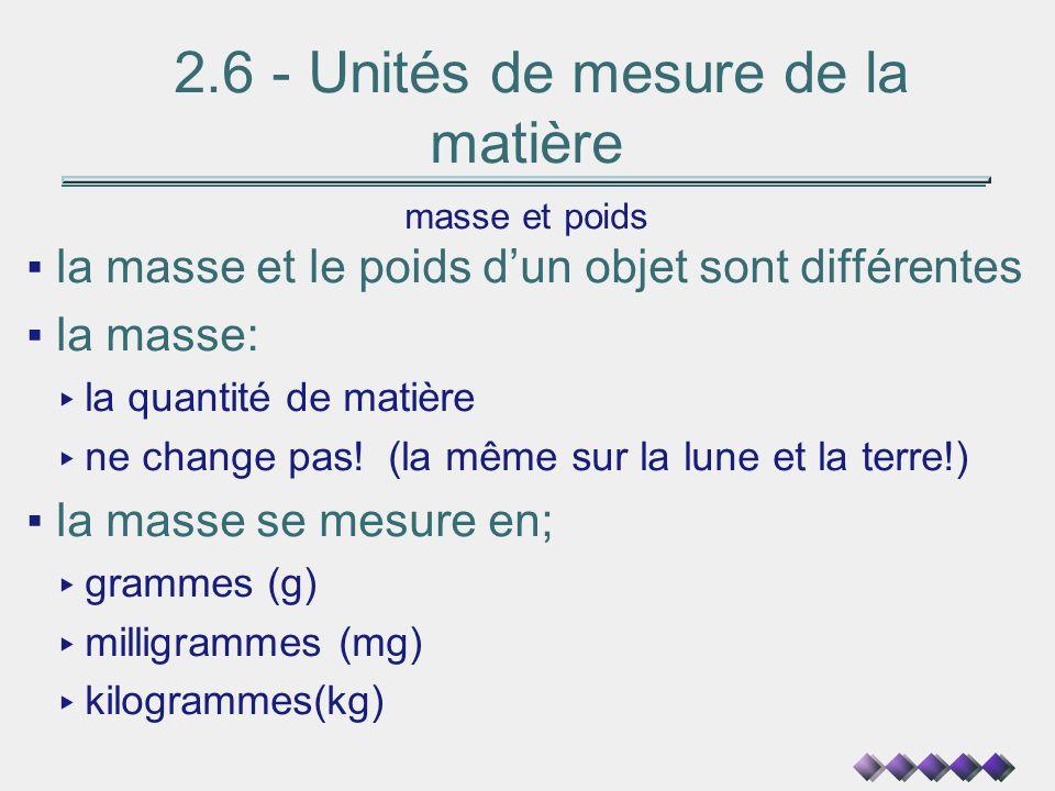 2.6 - Unités de mesure de la matière masse et poids la masse et le poids dun objet sont différentes la masse: la quantité de matière ne change pas! (l