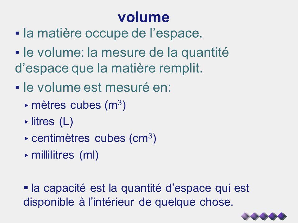 volume la matière occupe de lespace. le volume: la mesure de la quantité despace que la matière remplit. le volume est mesuré en: mètres cubes (m 3 )