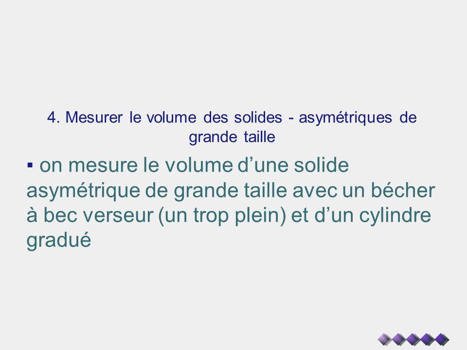 4. Mesurer le volume des solides - asymétriques de grande taille on mesure le volume dune solide asymétrique de grande taille avec un bécher à bec ver