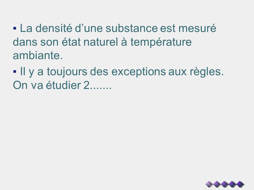 La densité dune substance est mesuré dans son état naturel à température ambiante. Il y a toujours des exceptions aux règles. On va étudier 2.......