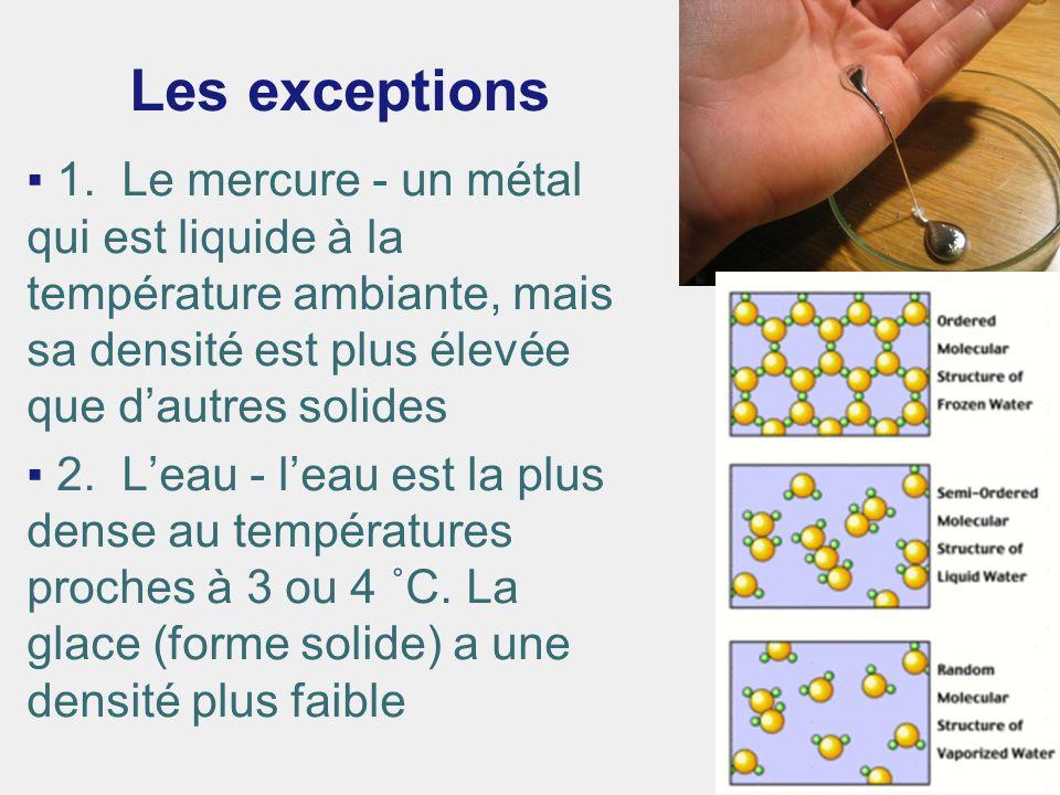 Les exceptions 1. Le mercure - un métal qui est liquide à la température ambiante, mais sa densité est plus élevée que dautres solides 2. Leau - leau