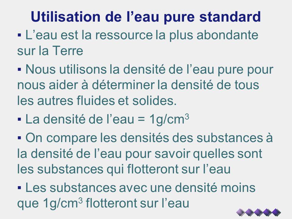 Utilisation de leau pure standard Leau est la ressource la plus abondante sur la Terre Nous utilisons la densité de leau pure pour nous aider à déterm