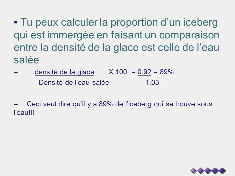 Tu peux calculer la proportion dun iceberg qui est immergée en faisant un comparaison entre la densité de la glace est celle de leau salée – densité d