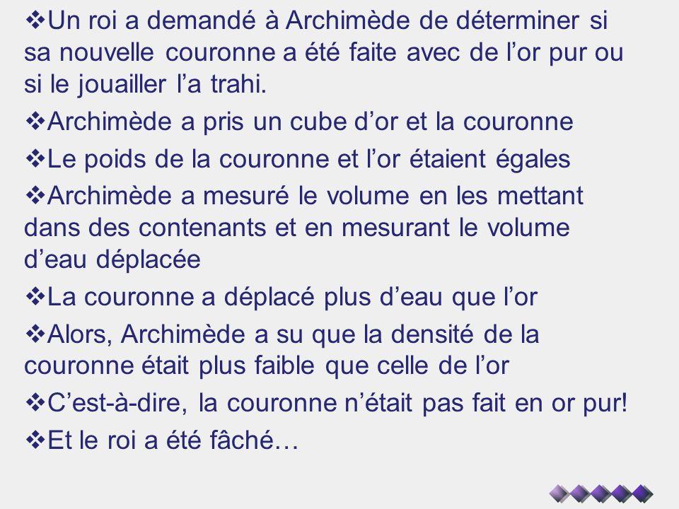 Un roi a demandé à Archimède de déterminer si sa nouvelle couronne a été faite avec de lor pur ou si le jouailler la trahi. Archimède a pris un cube d